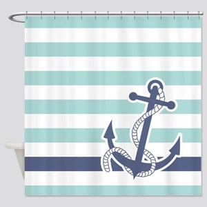 Nautical Anchor Stripe Light Blue Shower Curtain