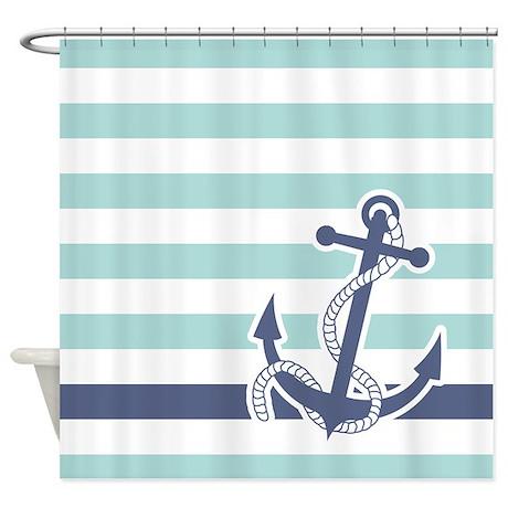 Nautical Anchor Stripe Light Blue Shower Curtain By