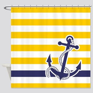 Nautical Anchor Stripe Yellow Shower Curtain
