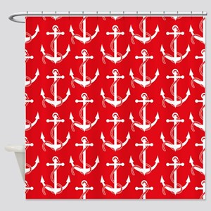 Nautical Anchors Aweigh Red Curtai Shower Curtain