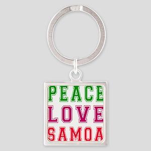 Peace Love Samoa Square Keychain