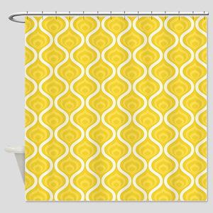 Yellow Retro Waves Shower Curtain
