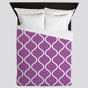 Purple Retro Waves Queen Duvet