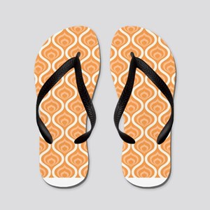 Orange Retro Waves Flip Flops