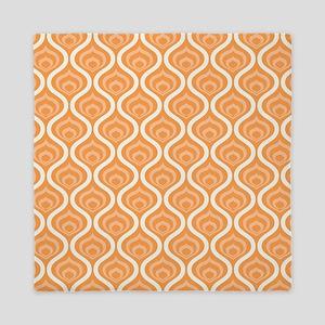Orange Retro Waves Queen Duvet
