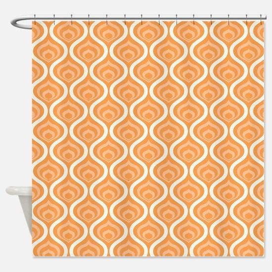 Orange Retro Waves Shower Curtain