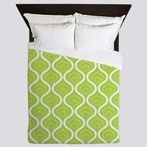 Green Retro Waves Queen Duvet