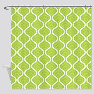 Green Retro Waves Shower Curtain