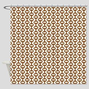 Brown Retro Wave Shower Curtain
