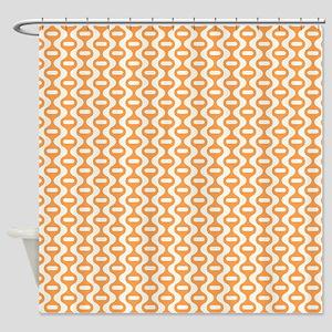 Orange Retro Wave Shower Curtain