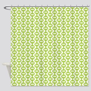 Green Retro Wave Shower Curtain