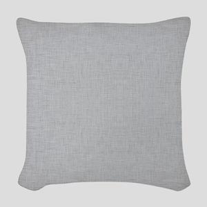 Grey Linen Woven Throw Pillow