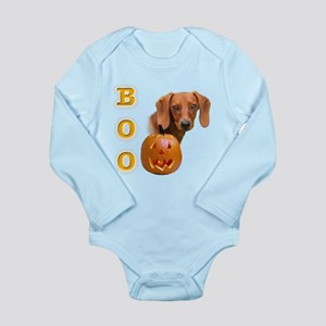 DachshundsmoothBoo2 Long Sleeve Infant Bodysui