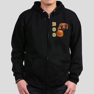 DachshundsmoothBoo2 Zip Hoodie (dark)
