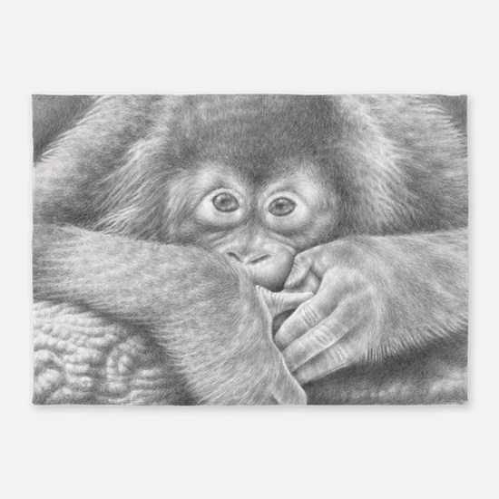 Baby Orangutan 5'x7'area Rug