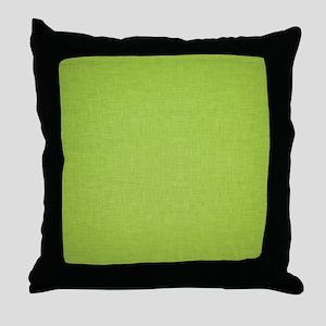 Green Linen Throw Pillow
