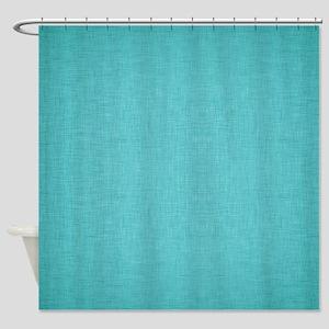 Blue Linen Shower Curtain