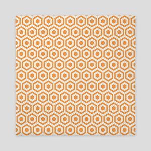 Orange Hexagon Honeycomb Queen Duvet