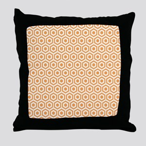 Orange Hexagon Honeycomb Throw Pillow