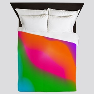 Rainbow Sherbet watercolors Queen Duvet