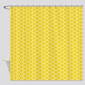 Yellow Honeycomb Shower Curtain