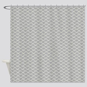 Grey Fish Scales Shower Curtain