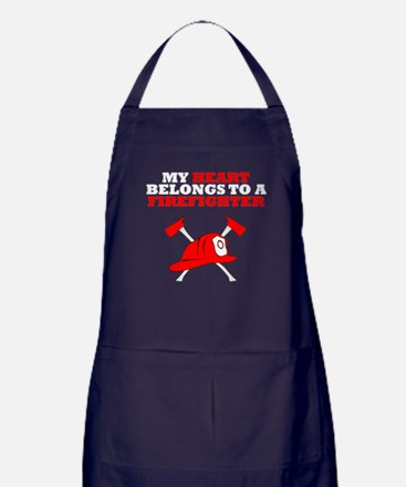My Heart Belongs To A Firefighter Apron (dark)