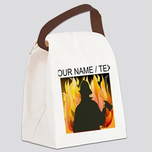 Custom Silhouetted Firefighter Canvas Lunch Bag