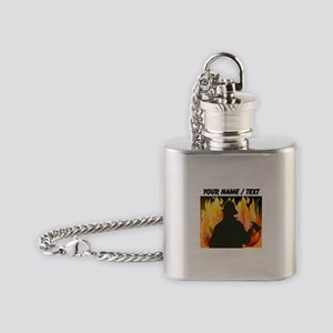 Custom Silhouetted Firefighter Flask Necklace