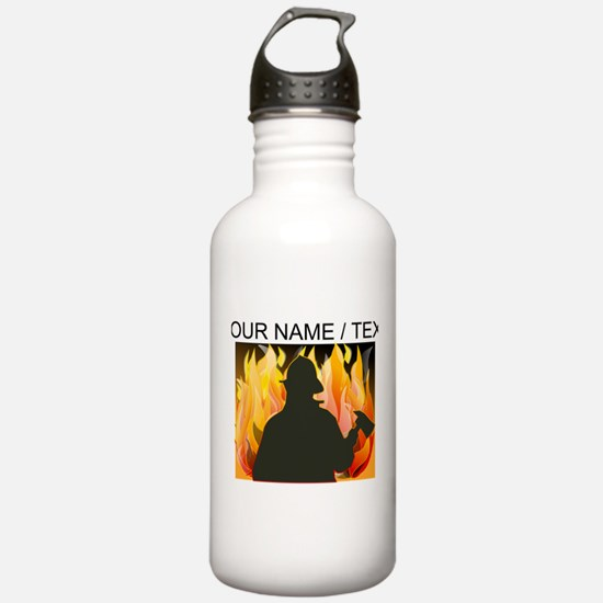 Custom Silhouetted Firefighter Sports Water Bottle
