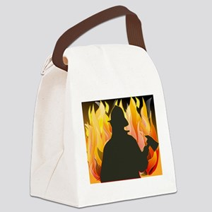 Silhouetted Firefighter Canvas Lunch Bag