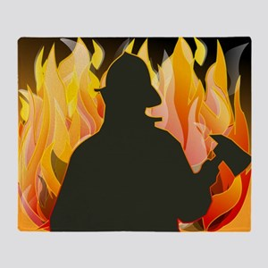 Silhouetted Firefighter Throw Blanket