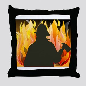 Silhouetted Firefighter Throw Pillow
