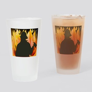 Silhouetted Firefighter Drinking Glass
