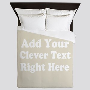 Add Text Background Gray Queen Duvet