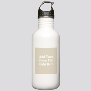 Add Text Background Gray Water Bottle