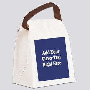 Add Text Background Blue Canvas Lunch Bag