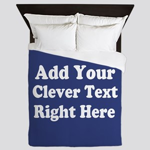 Add Text Background Blue Queen Duvet