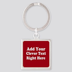 Add Text Background Red White Keychains