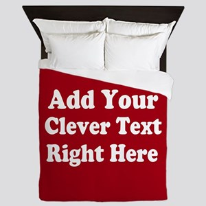 Add Text Background Red White Queen Duvet