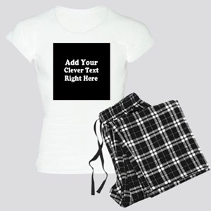 Add Text Background Black White Pajamas