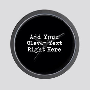 Add Text Background Black Wall Clock