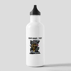 Custom Firefighter In Smoke Sports Water Bottle