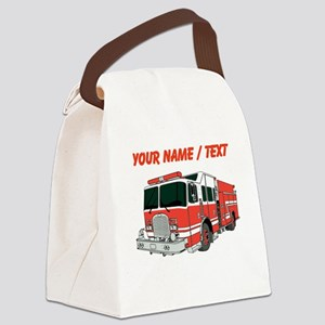 Custom Red Fire Truck Canvas Lunch Bag