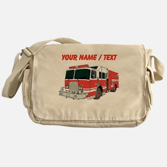 Custom Red Fire Truck Messenger Bag