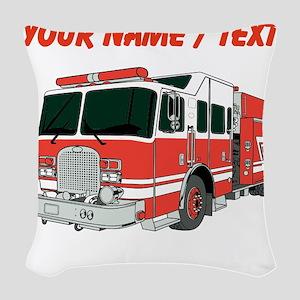 Custom Red Fire Truck Woven Throw Pillow