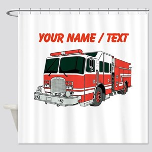Custom Red Fire Truck Shower Curtain