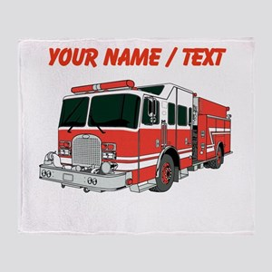 Custom Red Fire Truck Throw Blanket