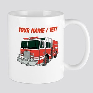 Custom Red Fire Truck Mugs