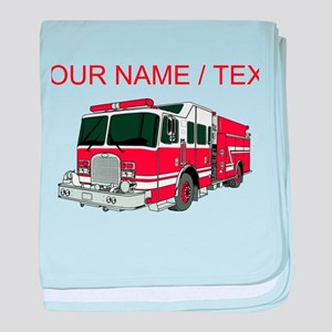 Custom Red Fire Truck baby blanket
